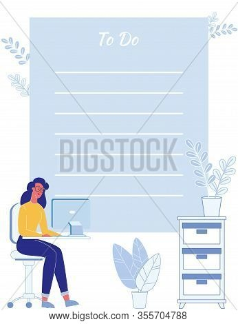 Flat To Do List Organizer, Checklist Paper, Daily Planner And Reminder For Busy Businesswoman. Carto