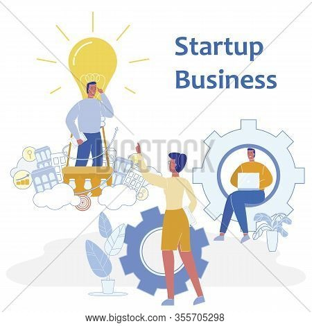 Flat Banner Is Written Startup Business Vector. Estimated Startup Cost. Men And Women Are Developing