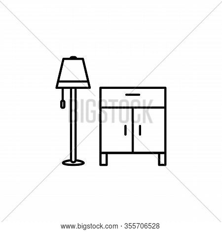 Cabinet, Closet, Furniture, Lamp Line Illustration Icon On White Background