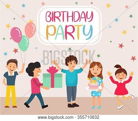Lettering Birthday Party Cartoon Flat Banner. Vector Illustration On Colored Background. Kids Congra