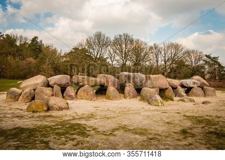 A Hunebed In The Holtingerveld Near Havelte In The Province Of Drenthe, Ancient Prehistoric Stones F