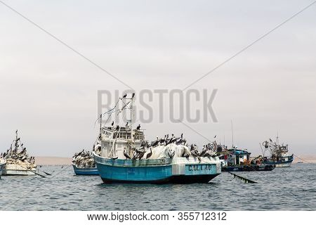 Paracas, Peru - September 12, 2015: Fishing Boats Anchored In The Bay
