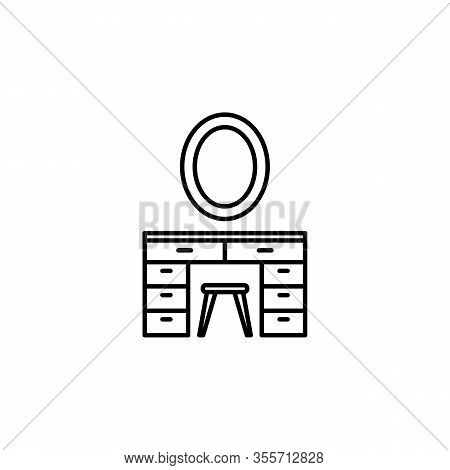 Desk, Makeup, Mirror, Table, Vanity Line Illustration Icon On White Background