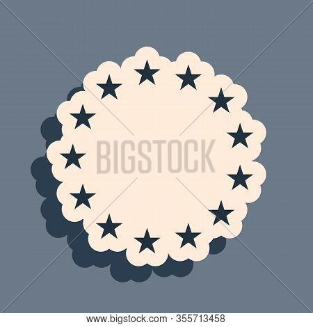 Black Flag Of European Union Icon Isolated On Grey Background. Eu Circle Symbol. Waving Eu Flag. Lon