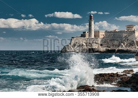 Lighthouse Of El Morro Castle At The Entrance Of Havana Bay, Cuba