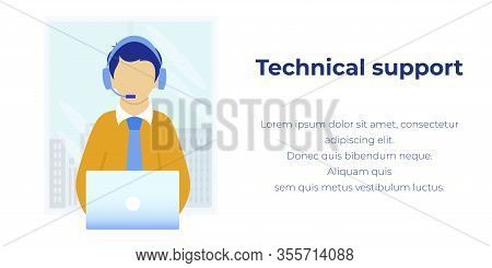 Online Assistant Help And Technical Support. Cartoon Man Operator Fix Client Problem Consulting Cust