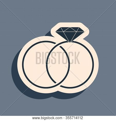 Black Wedding Rings Icon Isolated On Grey Background. Bride And Groom Jewelery Sign. Marriage Icon.