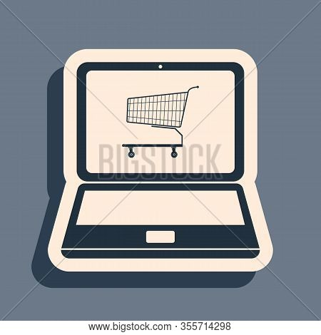 Black Online Shopping Concept. Shopping Cart On Screen Laptop Icon Isolated On Grey Background. Conc