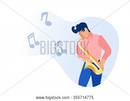 Musician Man Character Playing Saxophone Isolated On White Background. Man With Horn, Young Instrume