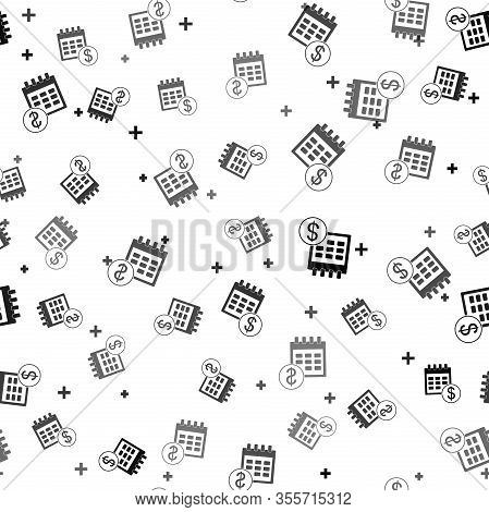 Black Financial Calendar Icon Isolated Seamless Pattern On White Background. Annual Payment Day, Mon
