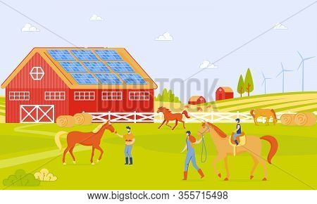 Parents And Children On Horse Farm Cartoon Flat. Horse Riding Lessons, Horseback Riding, Equestrian