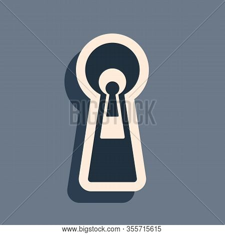 Black Keyhole Icon On Grey Background. Key Of Success Solution, Business Concept. Keyhole Express Th