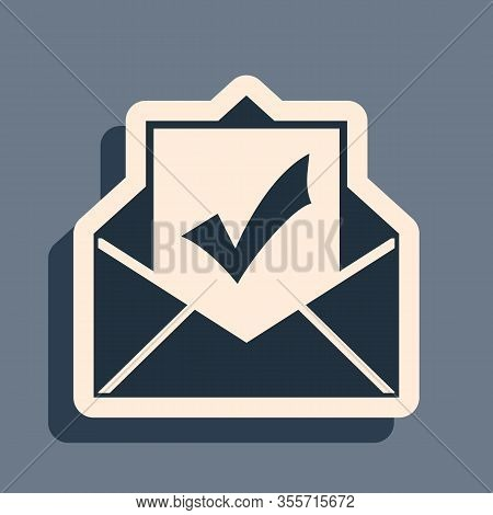 Black Envelope With Document And Check Mark Icon On Grey Background. Successful E-mail Delivery, Ema