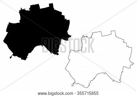 Hildesheim City (federal Republic Of Germany, Lower Saxony) Map Vector Illustration, Scribble Sketch