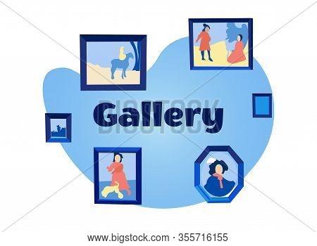 Exhibition Center. Vector Illustration. White Background. Walk Through Museum. Visit Exhibition. Pas