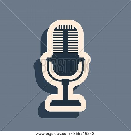 Black Microphone Icon Isolated On Grey Background. On Air Radio Mic Microphone. Speaker Sign. Long S
