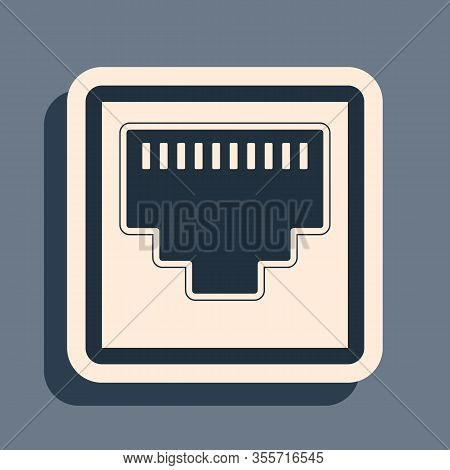 Black Network Port - Cable Socket Icon Isolated On Grey Background. Lan Port Icon. Ethernet Simple I