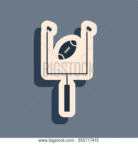 Black American Football With Goal Post Icon Isolated On Grey Background. Long Shadow Style. Vector I