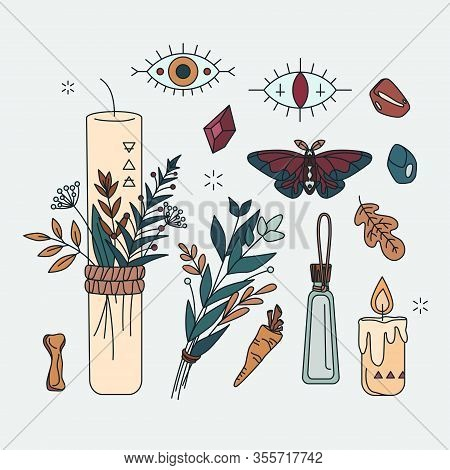 Isolated Symbol Of Shaman, Herbal Healer, Wicca. Pagan, Occult Or Esoteric Set