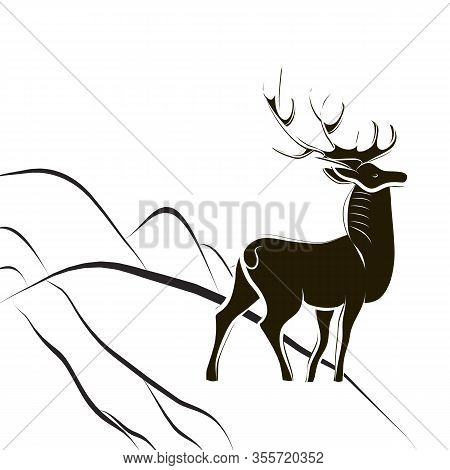 Graceful Proud Deer With Big Horns. Black And White Silhouette. Male Deer Stands On Edge Of Mountain
