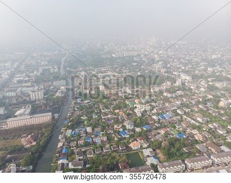 Air Pollution Remains At Hazardous Levels Pm 2.5 Pollutants Dust And Smoke Pm2.5 Aerial View Bangkok