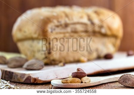 Homemade Bread, Made From Brazil Nuts And Walnuts, With Oats And Flaxseed. Export Product, Brazilian