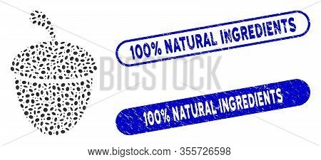 Mosaic Acorn And Corroded Stamp Seals With 100 Percent Natural Ingredients Text. Mosaic Vector Acorn