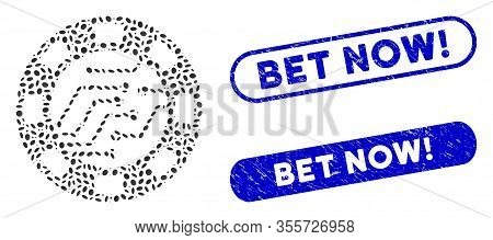 Mosaic Digital Casino Chip And Grunge Stamp Seals With Bet Now Exclamation Text. Mosaic Vector Digit
