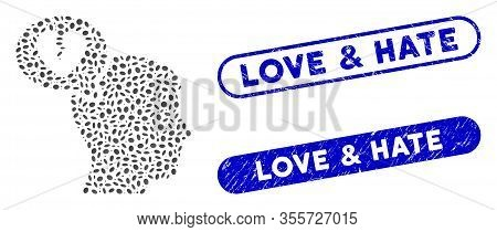 Mosaic Divorce Thinking Man And Corroded Stamp Seals With Love And Hate Text. Mosaic Vector Divorce