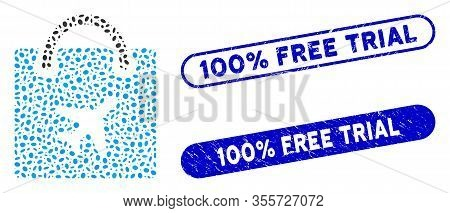 Mosaic Duty Free Shopping And Grunge Stamp Seals With 100 Percent Free Trial Caption. Mosaic Vector