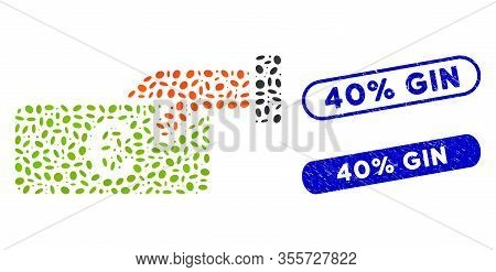 Mosaic Income And Rubber Stamp Seals With 40 Percent Gin Caption. Mosaic Vector Income Is Designed W
