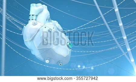Artificial Robotic Internal Organ - White Plastic Silicone Human Replacement Heart With Glowing Part