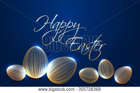Happy Easter Greeting Card With Shiny Gold Eggs. Rich Holiday Banner. Easter Eggs Made Of Curve Line