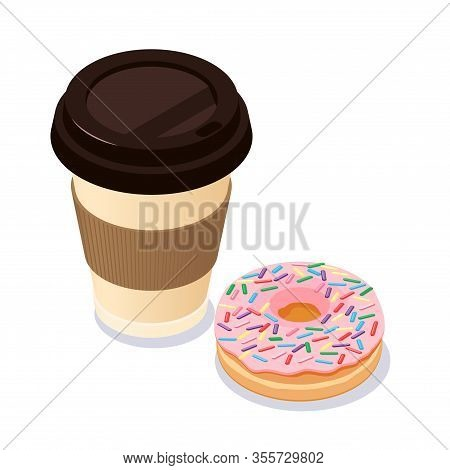 Coffee Cup And Donut. Vector Flat Modern Style Illustration Icon Design. Isolated On White Backgroun