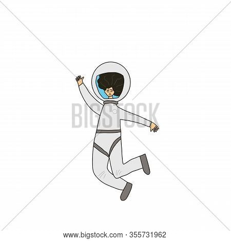 Female Astronaut Dressed In Helmet Isolated On White Background. Young Woman Wearing An Spacesuit Fl