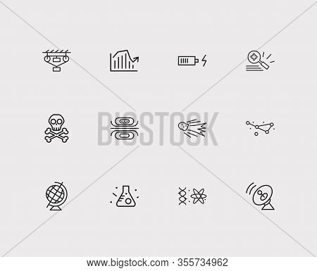 Physics Icons Set. Electrodynamics And Physics Icons With Flying Meteor, Constellation And Quantum P