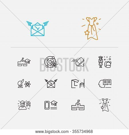 Online Learning Icons Set. Eraser And Online Learning Icons With Self Study, Astrophysics And Best S