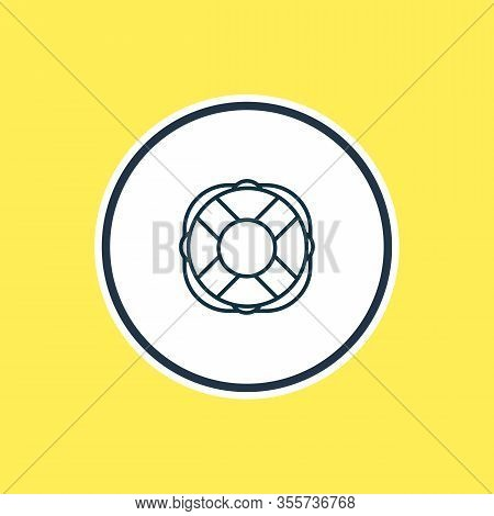 Vector Illustration Of Lifebuoy Icon Line. Beautiful Transportation Element Also Can Be Used As Life