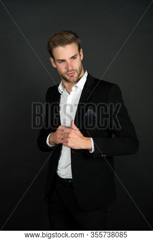 Formal Wear For Daily Work. Bachelor In Formal Style. Handsome Lawyer Dark Background. Dressing Up F