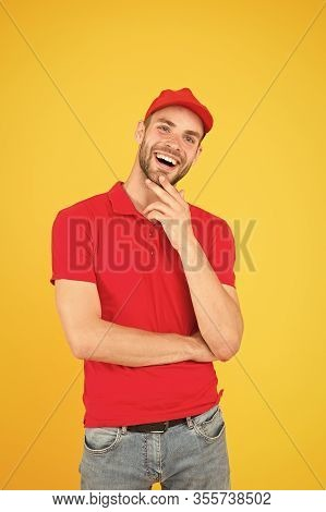 Welcome. Supermarket Cashier. Man Delivery Service Wear Red Cap. Shop Assistant. Food Order Delivery