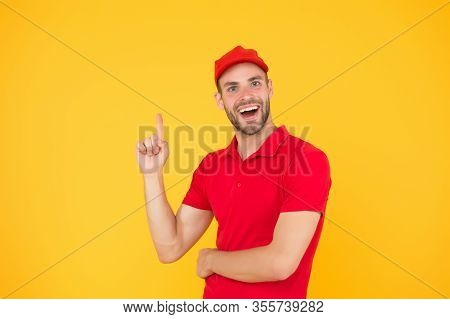 Good Idea. Inspiration. Staff Wanted. Supermarket Cashier. Man Delivery Service Wear Red Cap. Shop A