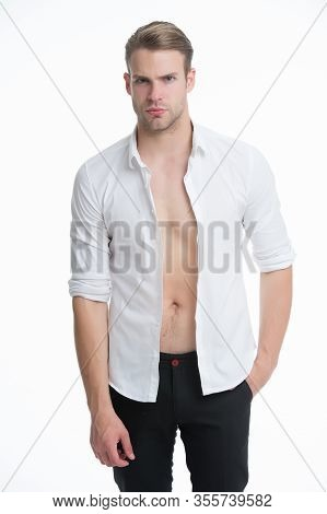 Sexy And Charismatic. Bachelor Isolated On White. Sexy Man In Unbuttoned Shirt. Handsome Guy With Se