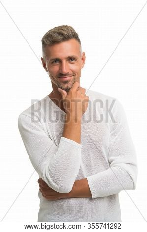 Beard Growth. Happy Guy Touch Beard Hair Isolated On White. Unshaven Man With Stubble Beard And Must