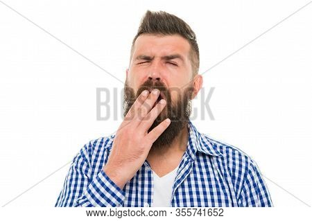 Boring Concept. Man Bored Yawning White Background. Fed Up. Feel Tired And Sleepy. Sleepy Guy. Bored