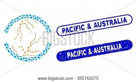 Collage Clean Energy And Distressed Stamp Seals With Pacific And Australia Text. Mosaic Vector Clean