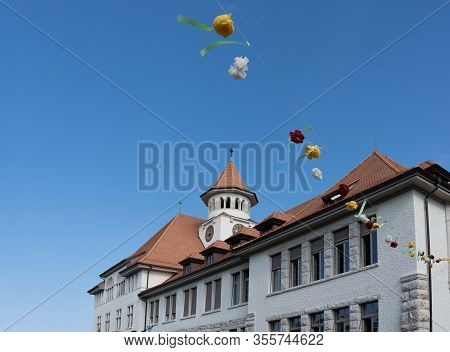 Schoolhouse Stapferschulhaus Brugg With Decoartion In Blue Sky On The 4th Of July At Jugendfest Brug