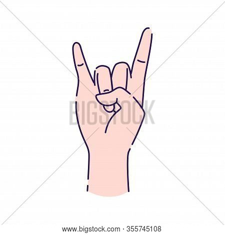 Hand Showing Coolness Line Icon. Heavy Metal Hand Gesture. Pictogram For Web Page, Mobile App, Promo