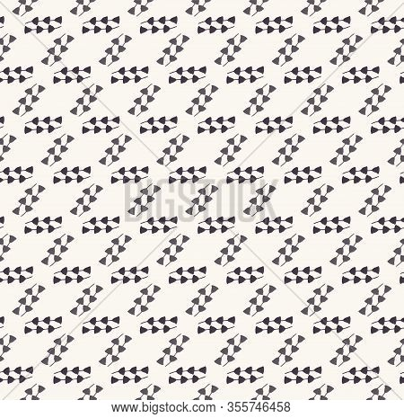Monochrome Square Motif Check Texture Background. Hand Drawn Diagonal Dashed Line Dotted Seamless Pa