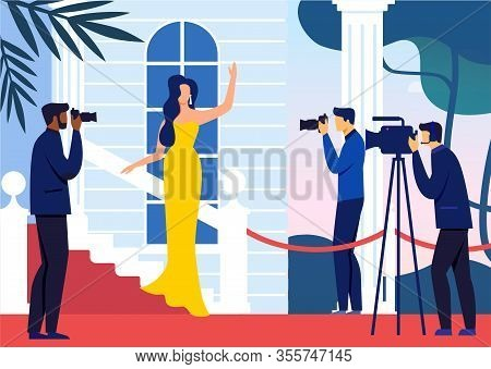 Celebrity On Red Carpet Flat Vector Illustration. Famous Woman In Fashionable Dress And Paparazzi Ca