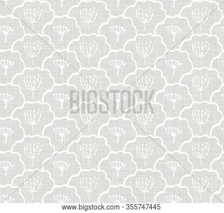 Natural Grey French Woven Linen Texture Background. Vintage Printed Leaf Seed Motif Seamless Pattern